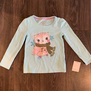 NWT Owl with Gold Sequin Scarf TShirt, Size S (4)